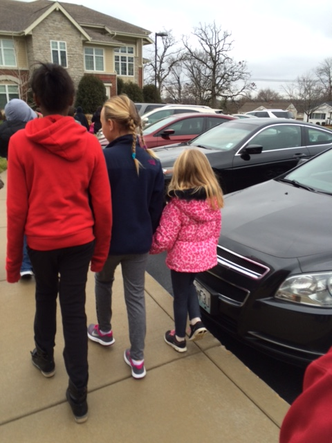As we walked to Aberdeen Heights, our fourth grade buddies made sure to keep our first grader safe!