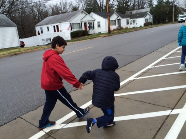 As we walked back from Aberdeen Heights, we made sure to hold hands when we crossed the street. Safety first!