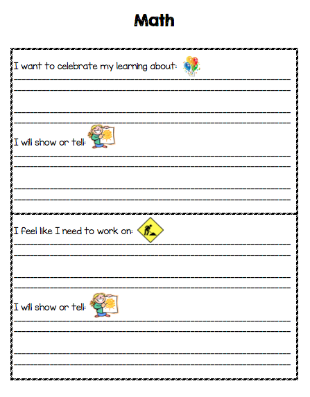 This is what one of the conference sheets looks like for our student-led conferences in first grade.