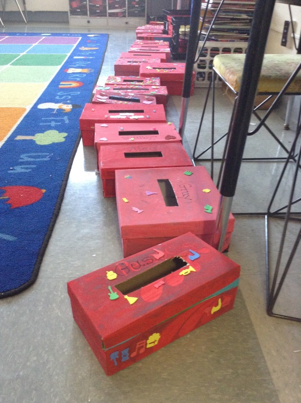 Look at all of our decorated Valentine's boxes! They look wonderful!