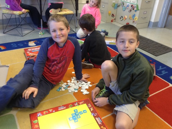 Gage and Isaiah played Scrabble Jr. together during our Game Day.