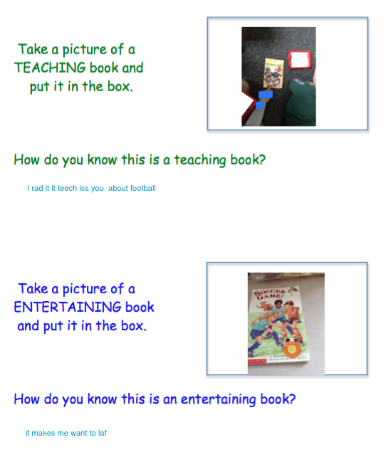 This first grader took a picture of two books and wrote about the author's purpose for writing the books.