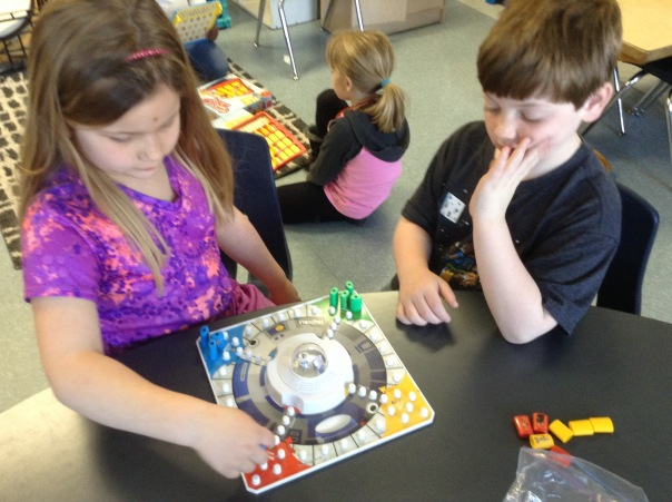 Wyatt and Olivia played Star Wars Trouble during our Game Day.