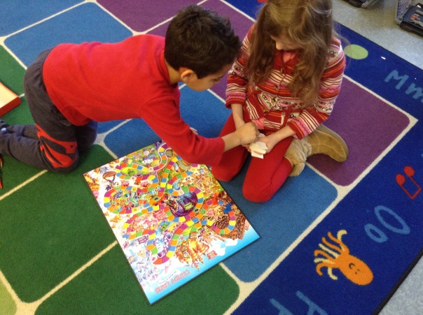 Cristiano and Bella played Candyland together during our Game Day.