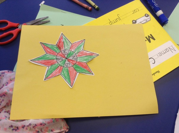 Here is a compass rose one of our first graders made.
