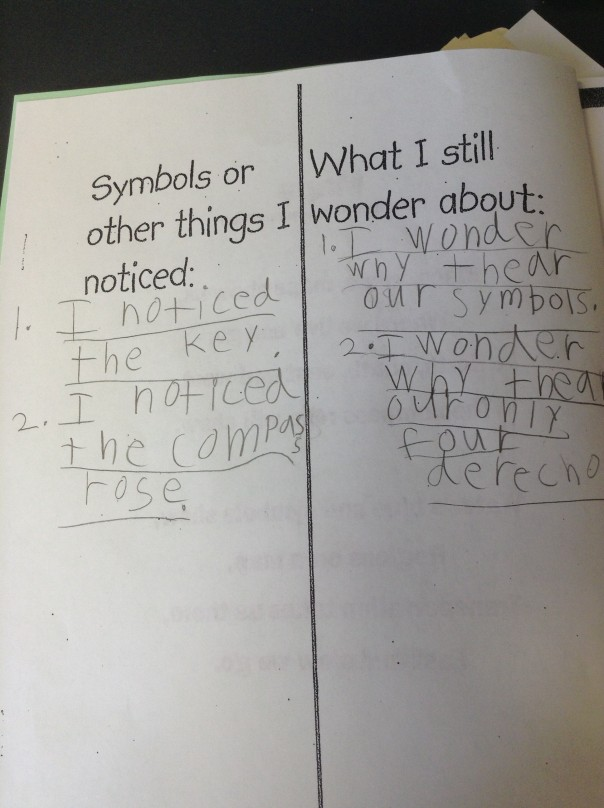 This first grader wrote about noticings and wonderings after exploring maps.