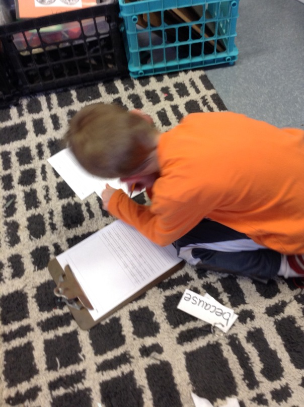 Gus worked to edit his writing piece by using his editing checklist.