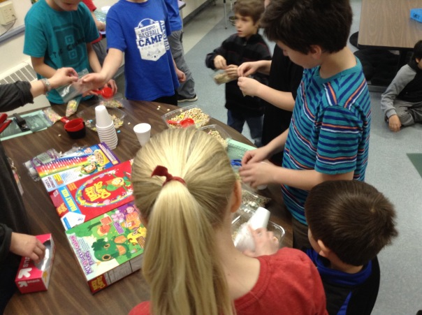 Learning buddies worked together to make a snack for residents at Aberdeen Heights.