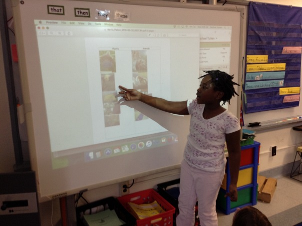 Using her eBackpack document, Paiton shared with us why she sorted the photos in the manner she chose.