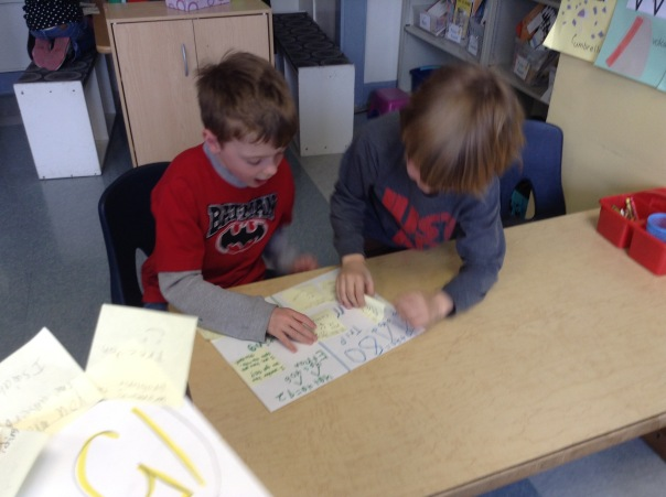 Ethan and Trip read their comments from other mathematicians after our gallery walk.