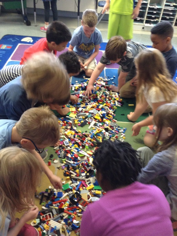 Children CALMLY and THOUGHTFULLY chose their Lego pieces to create their prototype.