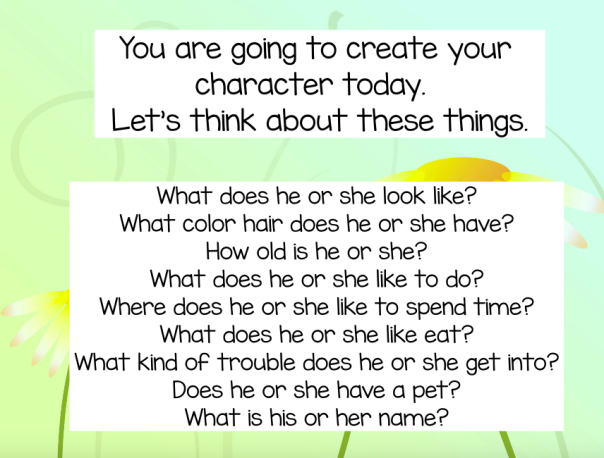 We used this prompt to imagine and create characters for our realistic fiction stories.
