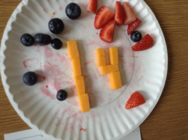 Check out what one of our first graders created while he was PLAYING with his food! Go #14!
