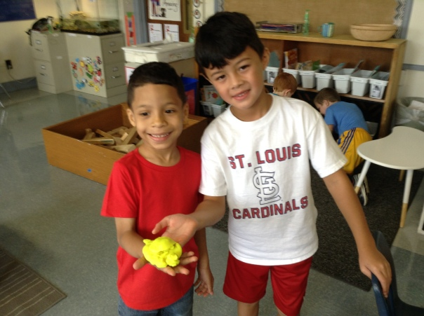 These friends worked together to create objects out of Play-Doh!