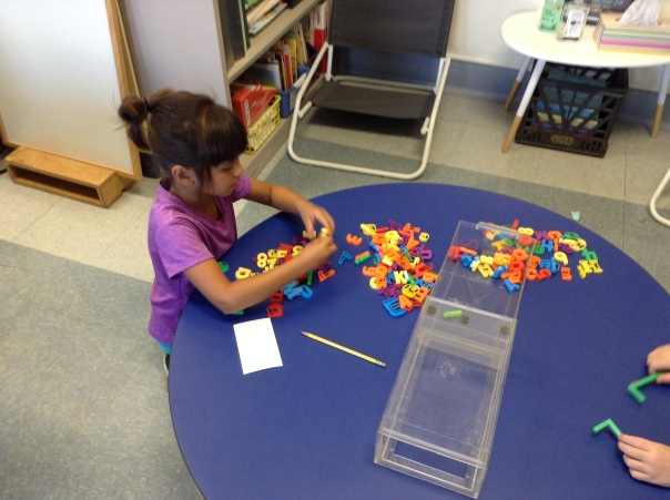 Allyson took inventory of our magnetic letters.