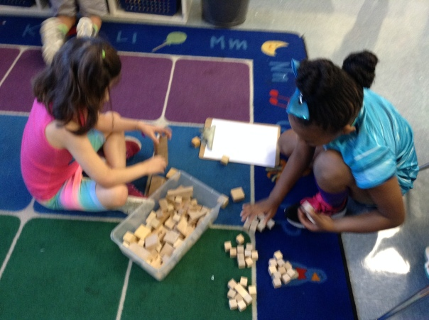 Autymn and Abby took inventory of our small, counting blocks.