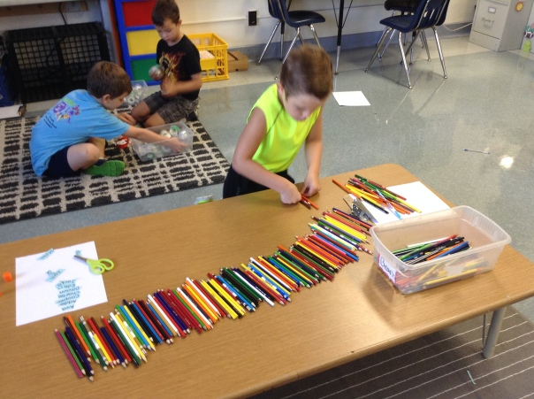 Look at Connor taking inventory of our colored pencils!