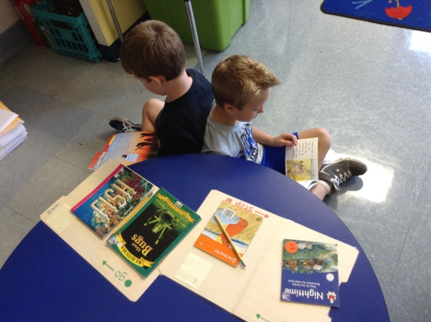 Duncan and Zach worked to read with their reading mats.