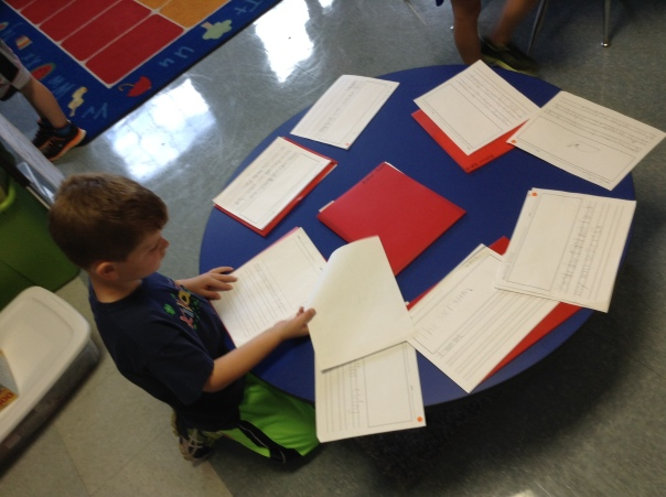 Zach read the writing of other first graders in our class so he could get ideas of ways to make his writing better.