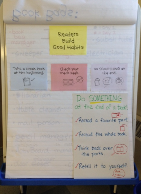 Check out our anchor chart (we are still adding onto) to guide us to develop habits as good readers!