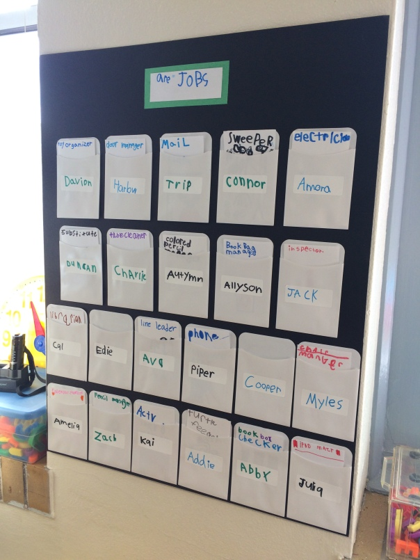 We created classroom jobs and our job chart - we LOVE having jobs!