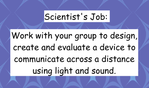 This is the job given to each group to show off what they have learned about light and sound.