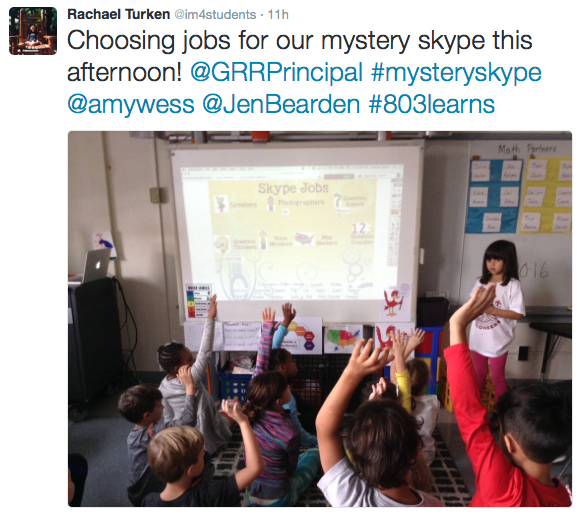 I tweeted about us choosing jobs for our Mystery Skype.