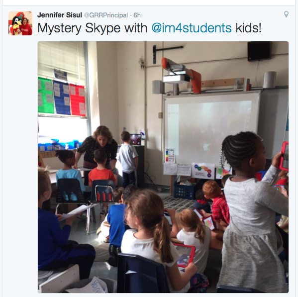 Mrs. Sisul joined us for part of our Skype session and even tweeted about us!