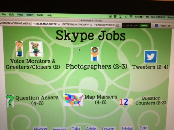 Here is an example of our Skype jobs before a geography Skype - they have evolved a bit since our first Skype.