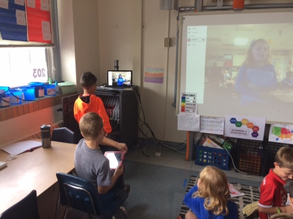Myles asked a question for the class we Skyped with in order to find out the state in which they live.