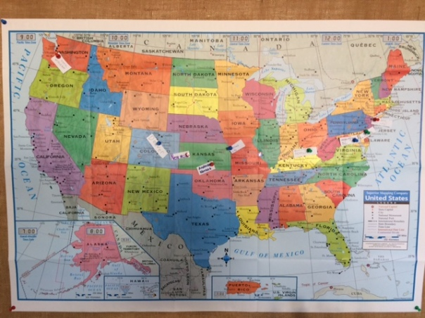 Look at all of the places we have traveled so far via Skype!