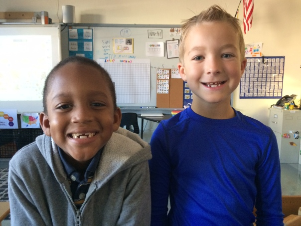 Dai'jon and Duncan noticed a similarity this morning - they both have the SAME missing teeth!