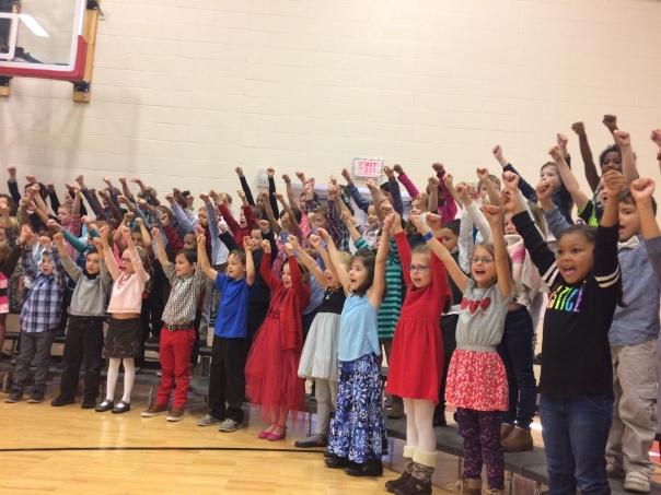 ADORABLE first graders singing to honor our veterans.