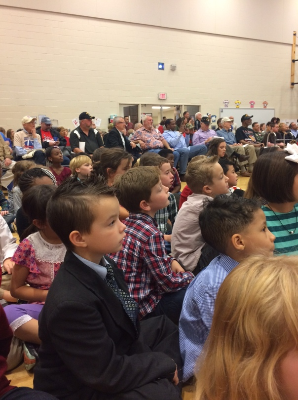 All of the students and veterans were engaged in the celebration.