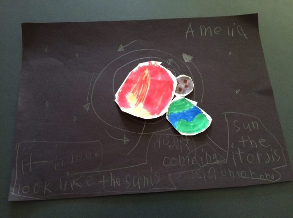 Amelia chose to do artwork to teach us about what she knows about space.