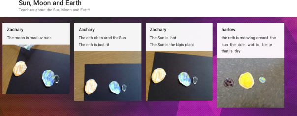 Harlow and Zach taught about space using Padlet.