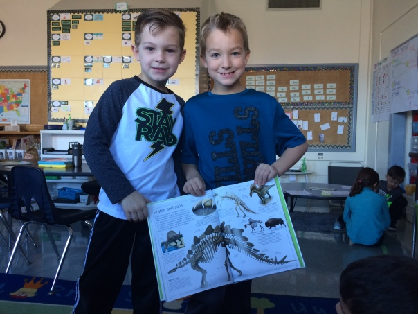 Connor and Duncan found a page showing a skeleton of the plates on a Stegosaurus which connected perfectly with our math investigation!