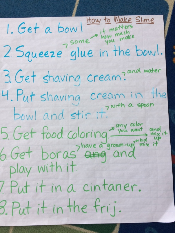 "After making the slime, we created a ""how to"" piece on what we learned."