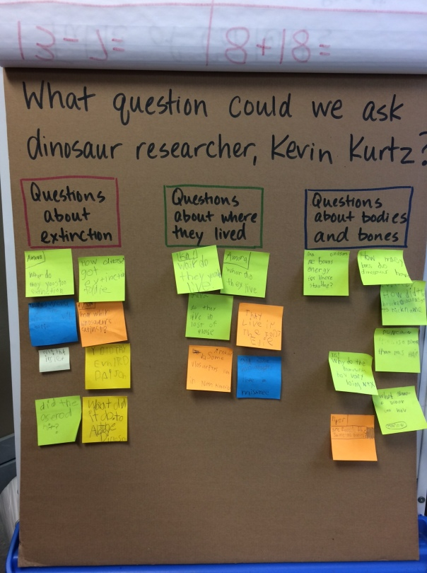 Before we had a Skype session with a dinosaur researcher, we created and discussed questions we had for him.