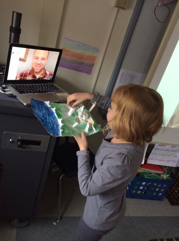 Paleontologist Amelia proudly shared a dinosaur creation she made at home with dinosaur researcher, Kevin Kurtz.