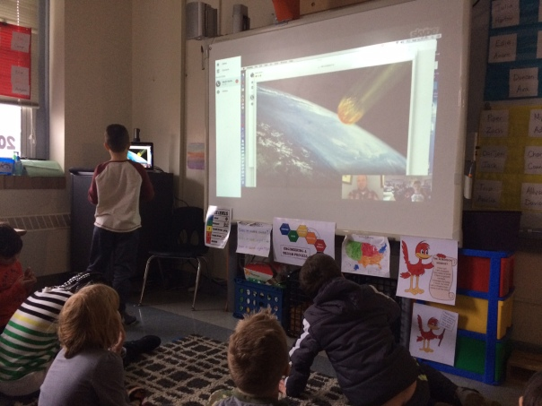 The dinosaur researcher showed us an image of what the asteroid might have looked like when it crashed into the earth.