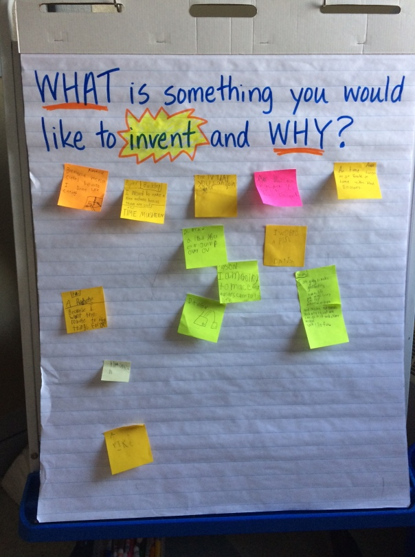We were welcomed with this question one morning to begin brainstorming about inventions.
