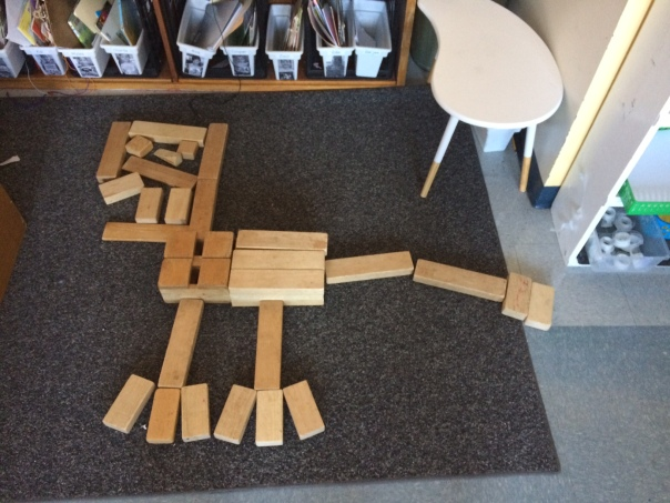 Look at this dinosaur structure created from blocks.