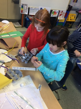 "Check out some of the hard working first graders making something that will help them ""go places,"" just like in the book."