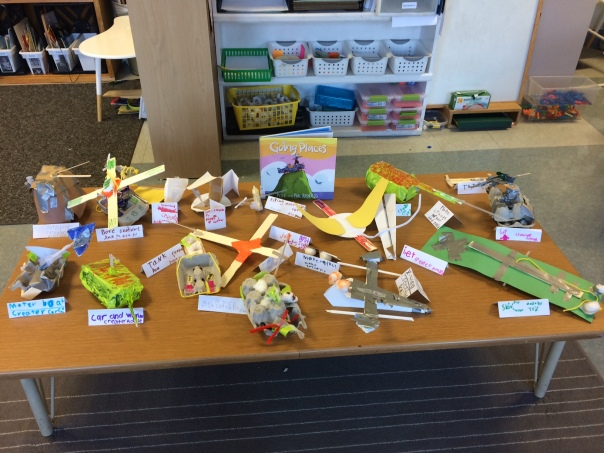 Look at the AMAZING creations our first graders made after reading the book, Going Places.