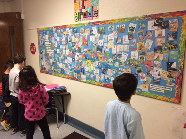 This is our bulletin board that has every book we have read this year! We checked it out to see if we could figure out how many books we have read so far.