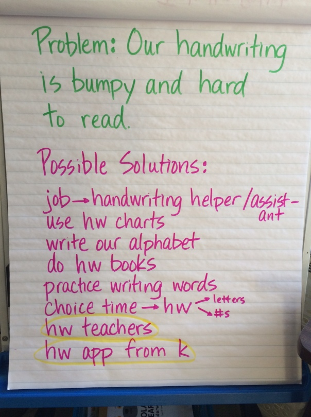 We had a class meeting this week to discuss our handwriting and brainstormed some possible solutions.