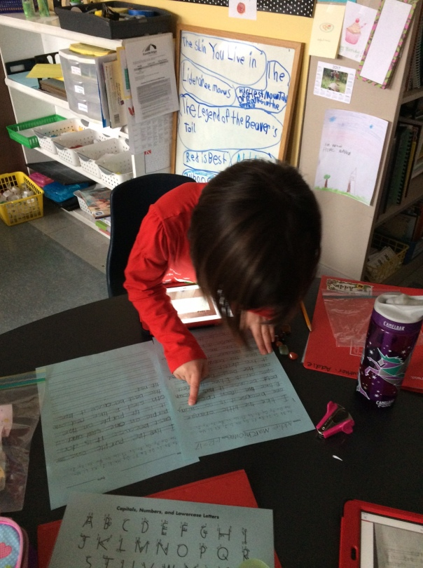 After writing about her collection, this author took a picture of her writing, read it and uploaded it to her Seesaw journal.