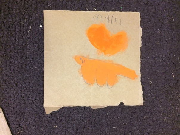 Myles created his cat and a heart - two happy memories for him.