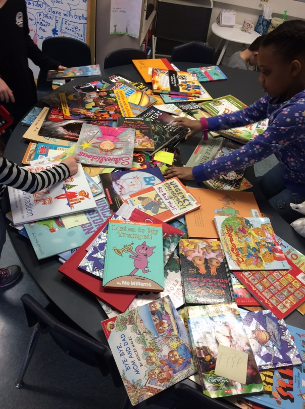 After first graders sifted through our books, our table looked very WELL read and used!